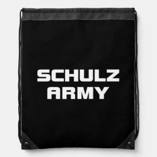 Schulzの軍隊の黒のドローストリングのバックパック ナップサック