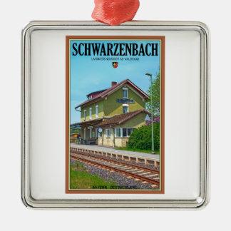 Schwarzenbach - Bahnhof シルバーカラー正方形オーナメント