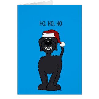 Schwarzer Doodle Santa カード