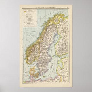 Schweden、Norwegen -スウェーデンおよびノルウェーの地図 ポスター