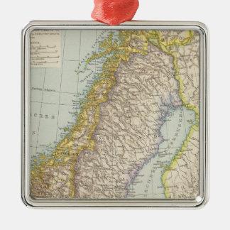 Schweden、Norwegen -スウェーデンおよびノルウェーの地図 メタルオーナメント
