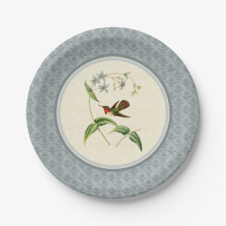 Scintillantハチドリの青いダマスク織の紙皿 ペーパープレート