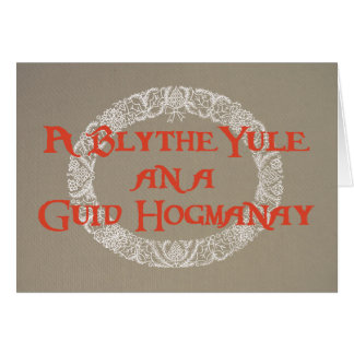 Scots Language White Christmas Wreath Red, Burlap カード