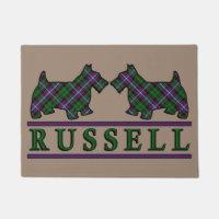 スコットランドの一族のラッセルタータンチェックのスコッチテリア犬