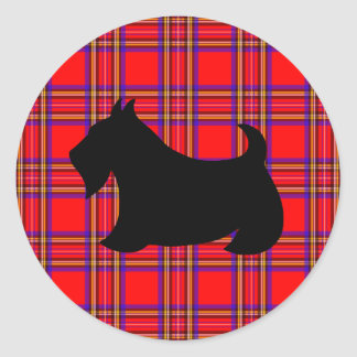 Scottyクラシックな犬スコットランドテリアのステッカー ラウンドシール
