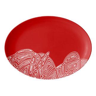 Scribbleprintの突風-赤 磁器大皿
