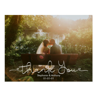 Script Doodle Photo Wedding Thank You Card ポストカード