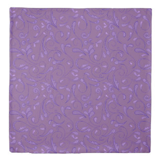 Scrolled Floral Leaf Purple Pattern 掛け布団カバー