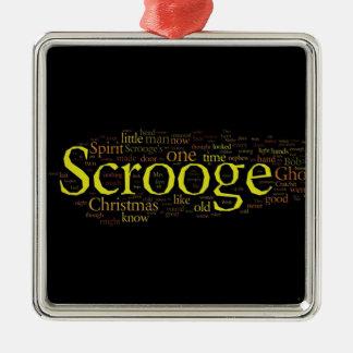 Scroogeのクリスマスキャロルの単語の芸術 メタルオーナメント