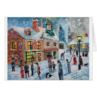 Scroogeクリスマスキャロルの冬の雪場面幽霊 カード