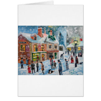 Scroogeクリスマスキャロルの冬の雪場面幽霊 グリーティングカード