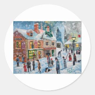 Scroogeクリスマスキャロルの冬の雪場面幽霊 ラウンドシール