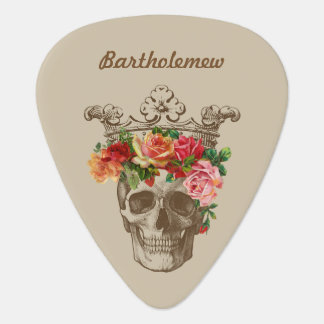 Scull and Flowers Personalized ギターピック