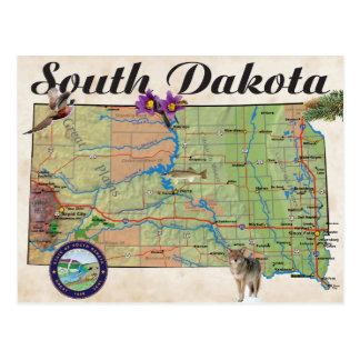 SDの州の地図 ポストカード