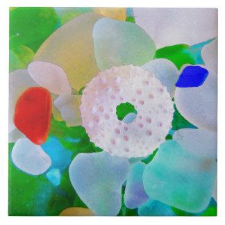 Sea Glass and Sea Urchin Shell タイル