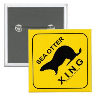 Sea Otter Xing 5.1cm 正方形バッジ
