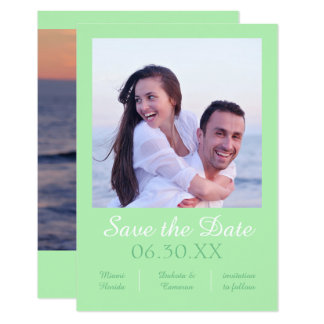Seafoamの写真の垂直- 3x5は日付を救います 8.9 x 12.7 インビテーションカード