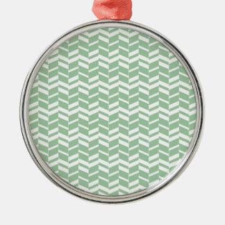 Seafoamの真新しい緑のヘリンボンライン シルバーカラー丸型オーナメント