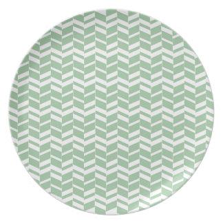 Seafoamの真新しい緑のヘリンボンライン パーティー皿