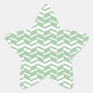 Seafoamの真新しい緑のヘリンボンライン 星シール