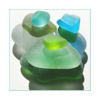 Seafoamの緑およびターコイズの海ガラス キャンバスプリント
