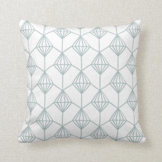 Seafoamの緑および白いダイヤモンドパターン クッション