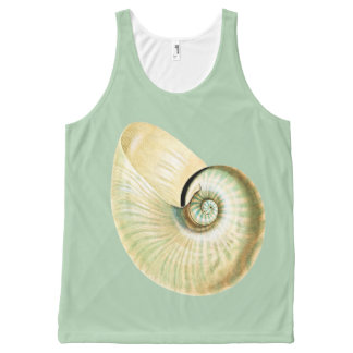Seafoamの緑の白い貝 オールオーバープリントタンクトップ