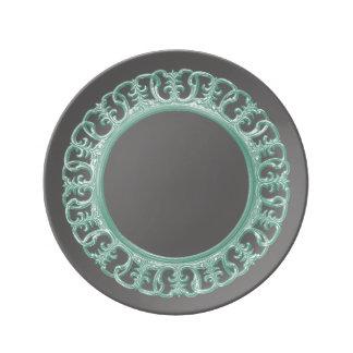 Seafoamの緑のscrollwork 磁器製 皿