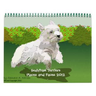 Sealyhamテリアの場所および顔2012年 カレンダー