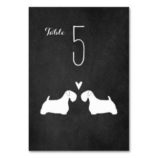 Sealyhamテリアは結婚式のテーブルカードのシルエットを描きます カード