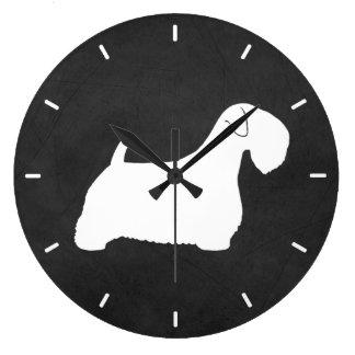 Sealyham Terrier Silhouette ラージ壁時計