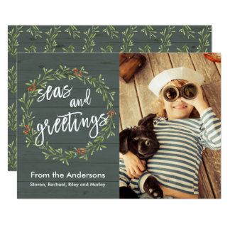 Seas and Greetings Nautical Christmas Photo カード