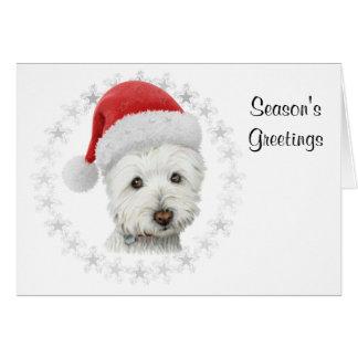 Season's Greetings Christmas Westie Dog Art Card カード