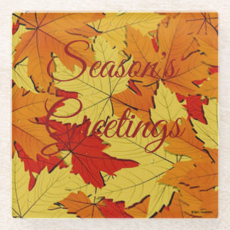Season's Greetings Fall Leaves Glass Coaster ガラスコースター
