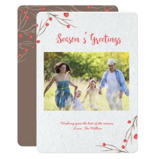 Season's Greetings Holly Berry カード