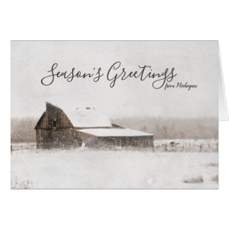 Season's Greetings Winter Michigan Barn Rustic カード