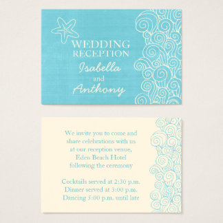 Seastarの青い及びクリーム色の結婚情報のエンクロージャカード 名刺
