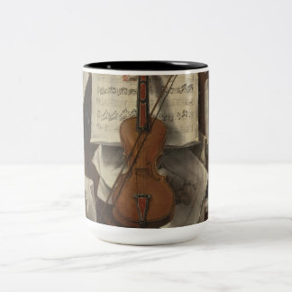 Sebastiano Lazzari Trompe -バイオリンおよび音楽ノート ツートーンマグカップ
