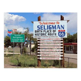 Seligmanのルート66の郵便はがきへの歓迎! ポストカード