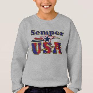 Semper米国のティーアメリカの星条旗のTシャツ スウェットシャツ