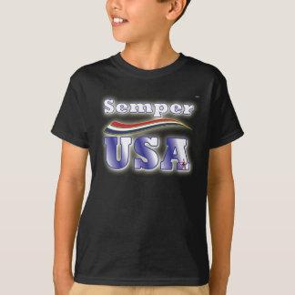 Semper米国のティーアメリカの星条旗のTシャツ Tシャツ