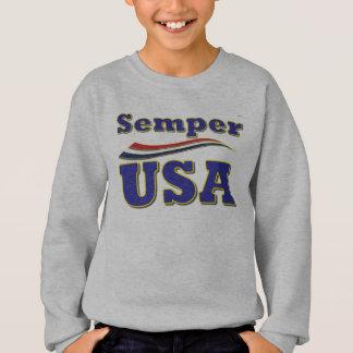 Semper米国のユニークなティーアメリカのストライプなTシャツ スウェットシャツ