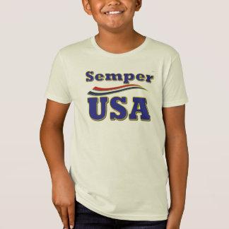 Semper米国のユニークなティーアメリカのストライプなTシャツ Tシャツ