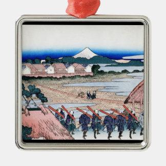 Senju Hokusaiの陽気な四分の一から見られる富士 メタルオーナメント