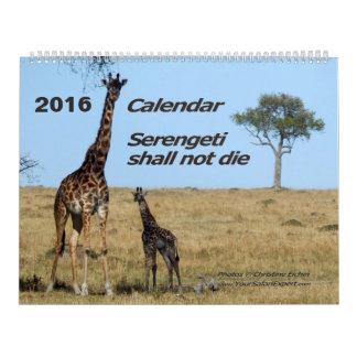 Serengetiは2ページカレンダーの死にません カレンダー