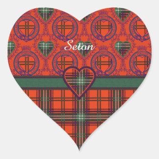Setonの一族の格子縞のスコットランド人のタータンチェック ハートシール