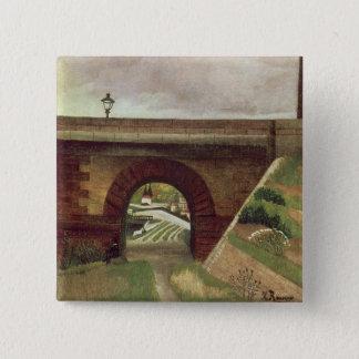 Sevres橋(キャンバスの油) 5.1cm 正方形バッジ