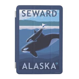 Seward、AlaskaOrcaおよび子牛場面 iPad Miniカバー