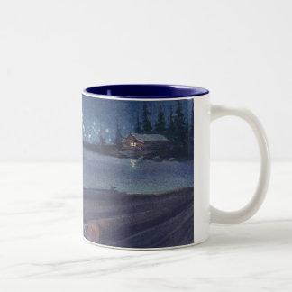 SHシャロン著元の水彩画からの夜引っ張り ツートーンマグカップ