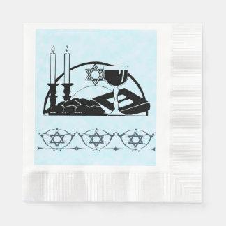Shabbatのテーブル、ワインおよびkiddush 縁ありランチョンナプキン